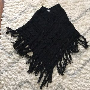 Black fringe sweater poncho